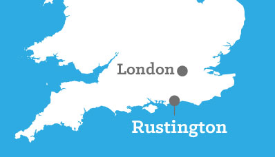 UK Map showing relativity distance between Rustington and London